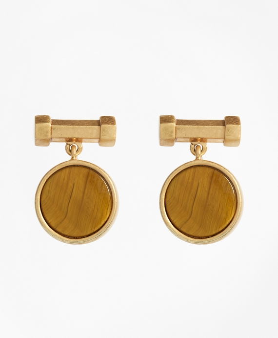 Round Tigereye Earrings Gold