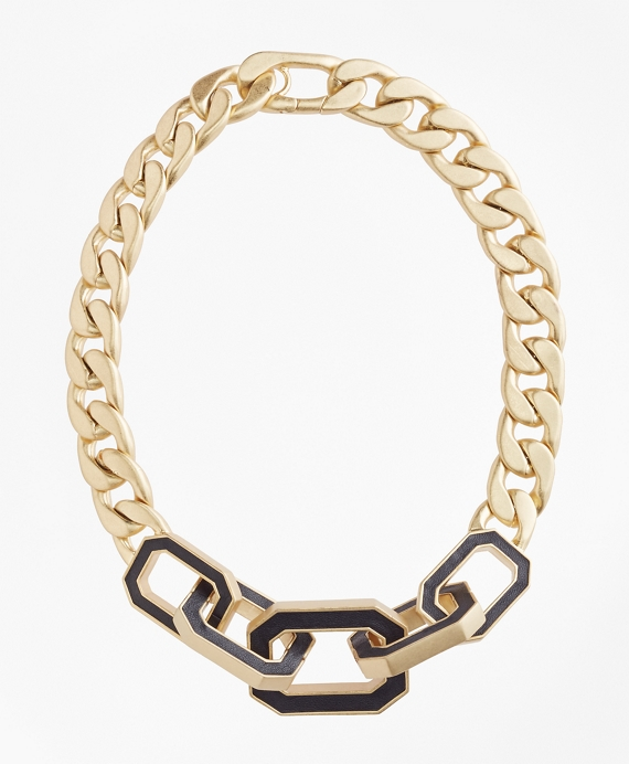 Chain Leather Knot Necklace Gold