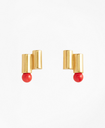 Gold-Plated Coral Sphere Cylinder Earrings