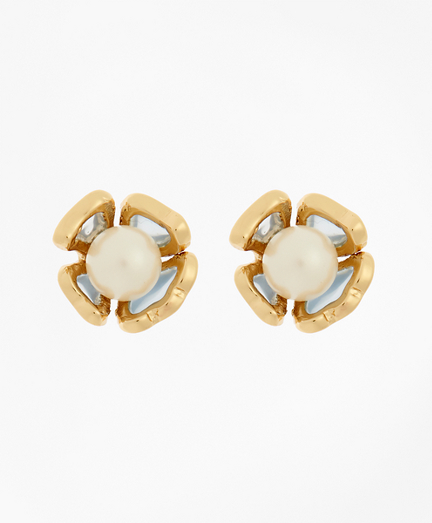 Floral Glass Pearl Stud Earrings