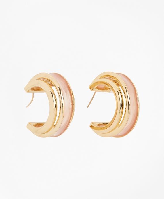 Plique-a-Jour Enamel Hoop Earrings Gold