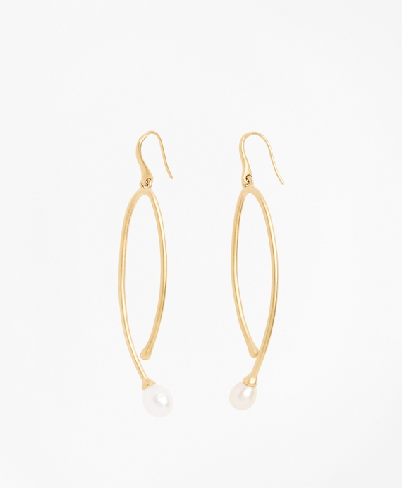 Freshwater Pearl Gold-Plated  Long Drop Earrings Gold