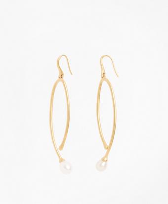 Freshwater Pearl Gold-Plated  Long Drop Earrings