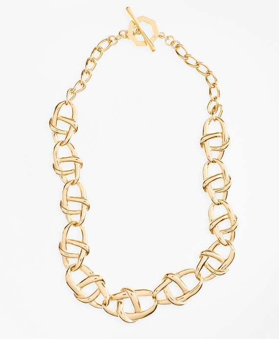 Gold-Plated Nautical Link Necklace Gold