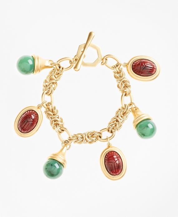 Poppy Jasper Scarab Charm Bracelet Gold