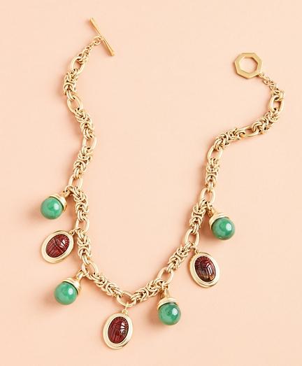 Poppy Jasper Scarab Charm Necklace