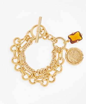 Gold-Plated Three-Layer Chain Charm Bracelet