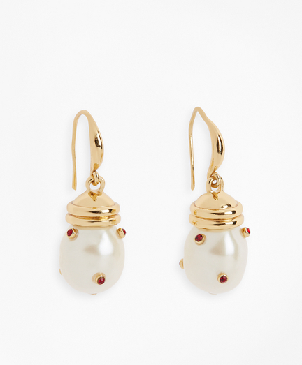 Gem-Studded Pearl Drop Earrings