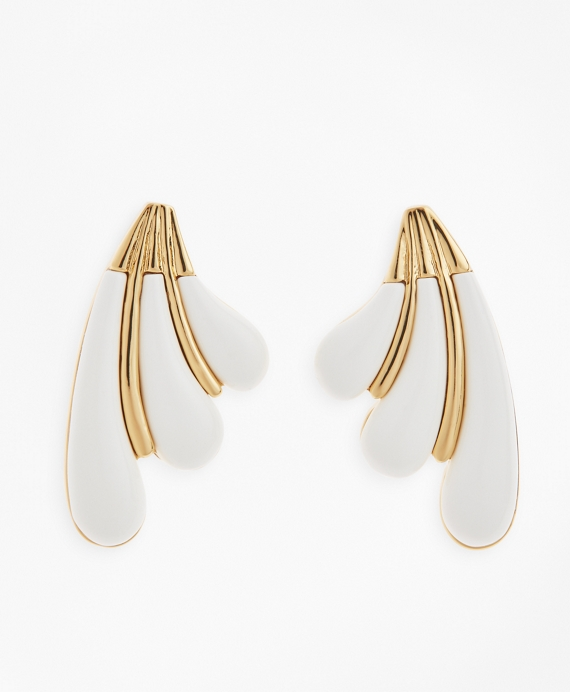 Enameled Petal Earrings Gold
