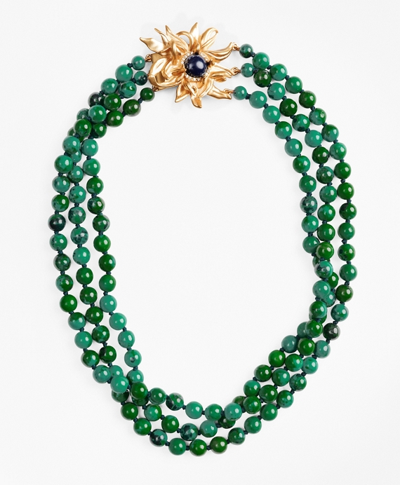 Three-Strand Floral-Clasp Necklace Teal