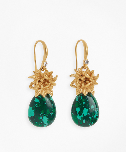 Floral-Accent Stone Drop Earrings