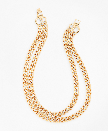 Gold-Plated Two-Strand Curb Chain Necklace