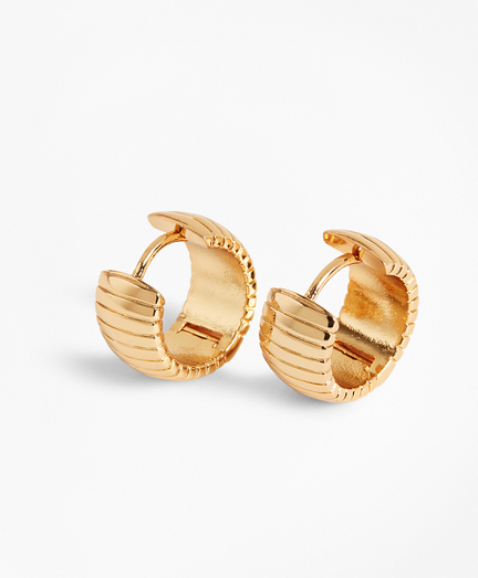 Gold-Plated Omega Chain Hoop Earrings