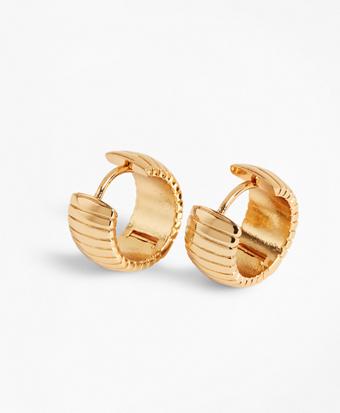 Gold-Plated Omega Chain Hoop Earrings