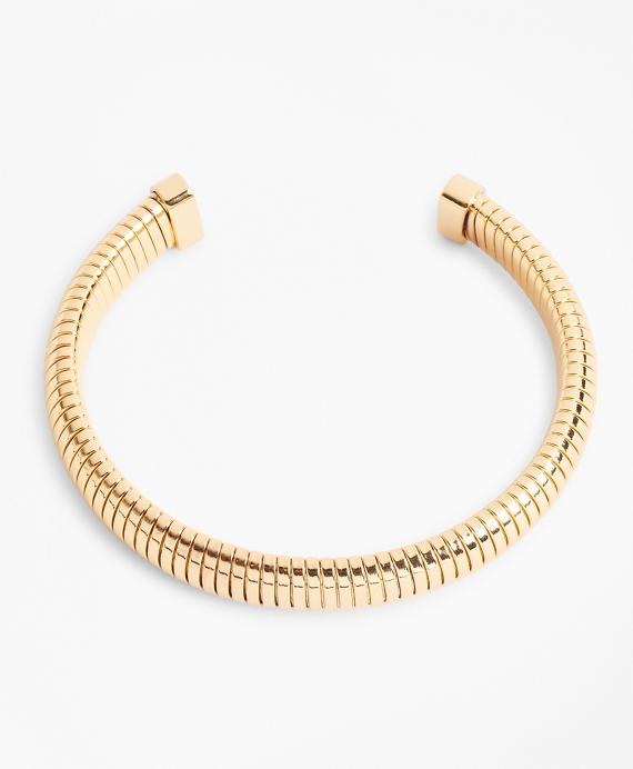 Gold-Plated Omega Chain Cuff Bracelet Gold