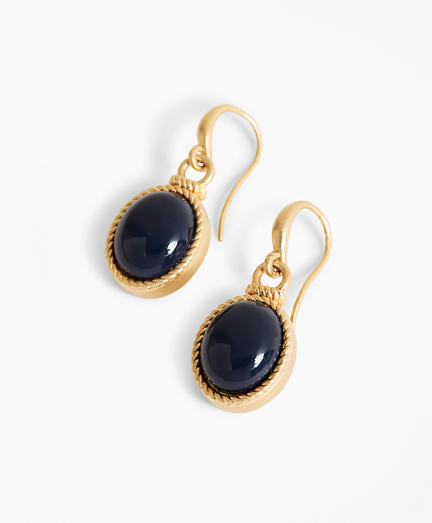 Gold-Plated Cabochon Drop Earrings