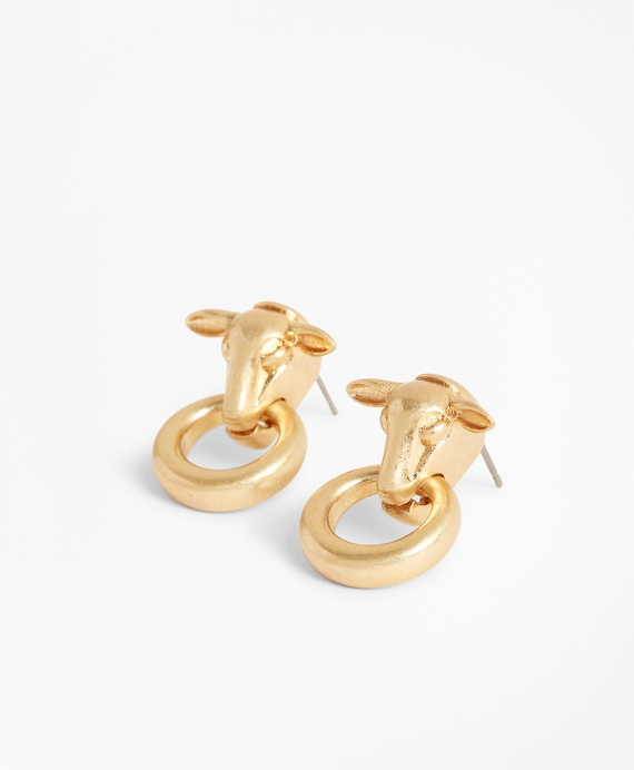 Gold-Plated Sheep's Head Stud Earrings Gold
