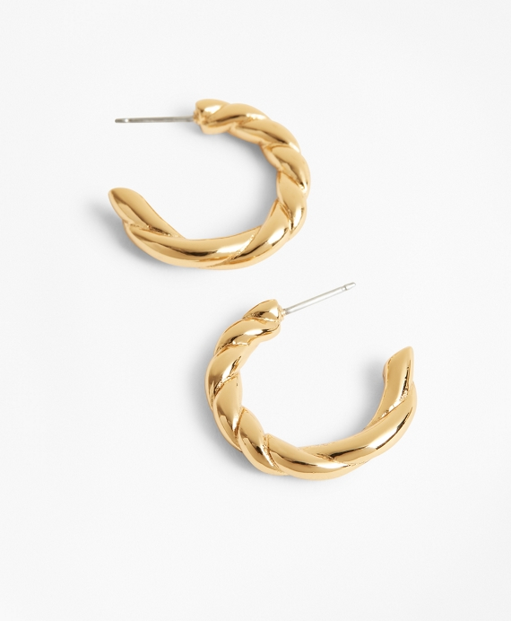 Gold-Plated Rope Hoop Earrings Gold