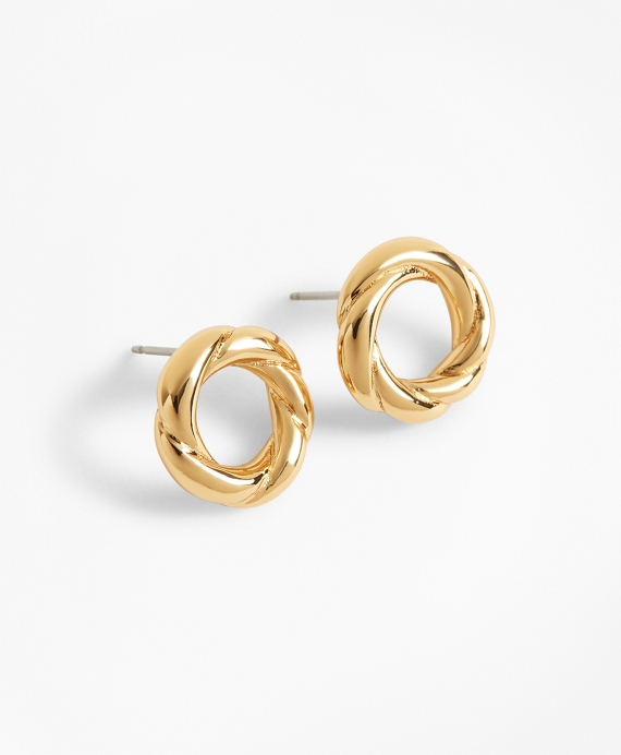 Gold-Plated Rope Stud Earrings Gold