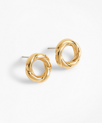 Gold-Plated Rope Stud Earrings