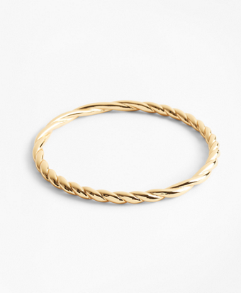 Gold-Plated Rope Bangle Bracelet