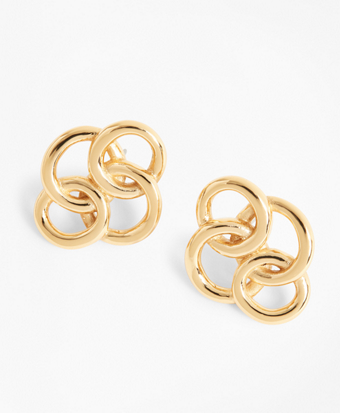 Gold-Plated Interlocking Ring Stud Earrings