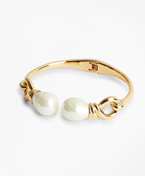 Baroque Glass Pearl Cuff Bracelet Gold