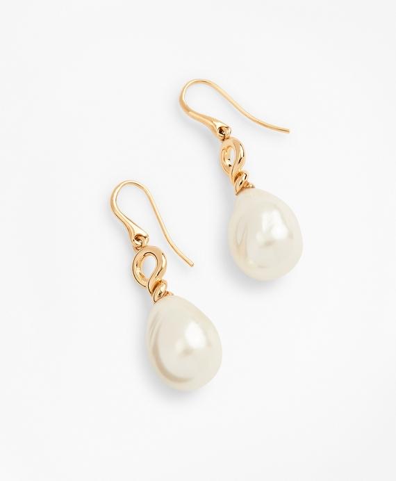 Baroque Glass Pearl Drop Earrings Gold