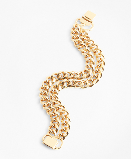 Gold-Plated Two-Strand Curb Chain Bracelet
