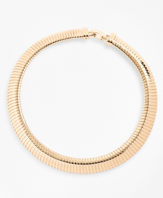 Gold-Plated Omega Chain Collar Necklace Gold