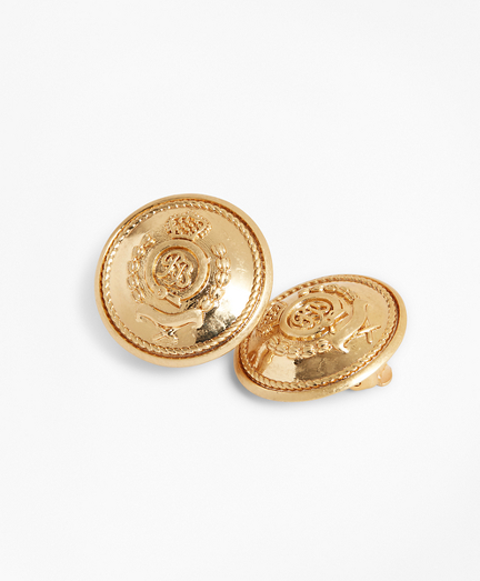 Gold-Plated Crest Clip Earrings