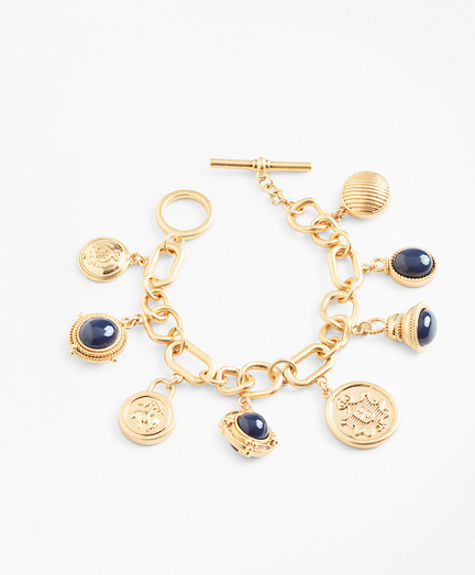 Gold-Plated Crest and Cabochon Charm Bracelet