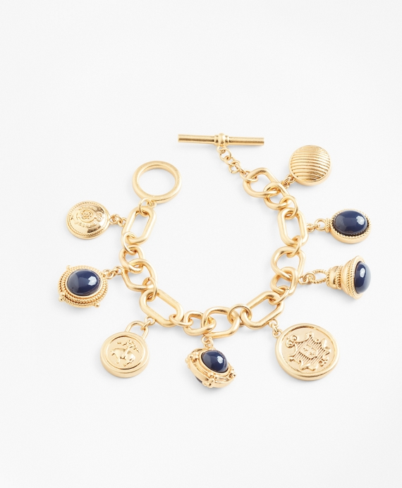 Gold-Plated Crest and Cabochon Charm Bracelet Gold