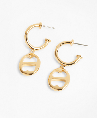 Gold-Plated BB-Link Chain-Drop Hoop Earrings