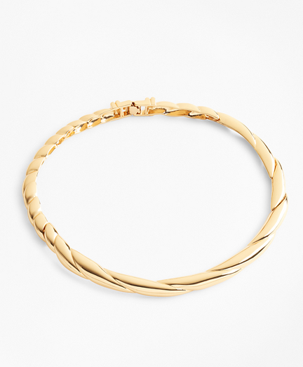 Gold-Plated Twisted Rope Collar Necklace