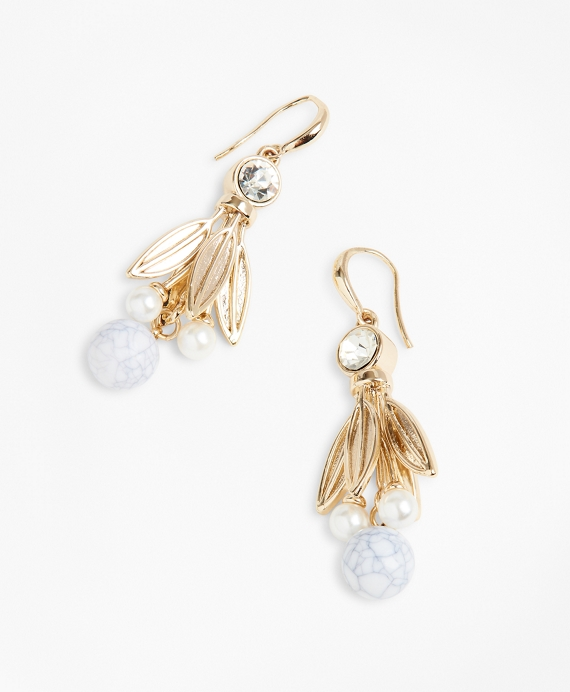 Rhinestone & Marbled Bead Drop Earrings Gold