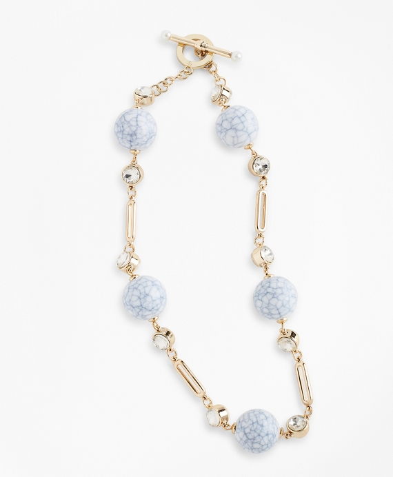 Rhinestone & Marbled Bead Necklace Gold