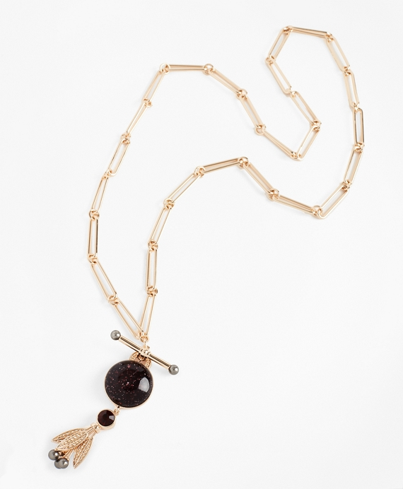 Swarovski Crystal & Glass Pearl Pendant Necklace Gold