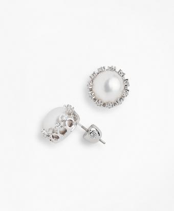Freshwater Pearl & Crystal Stud Earrings