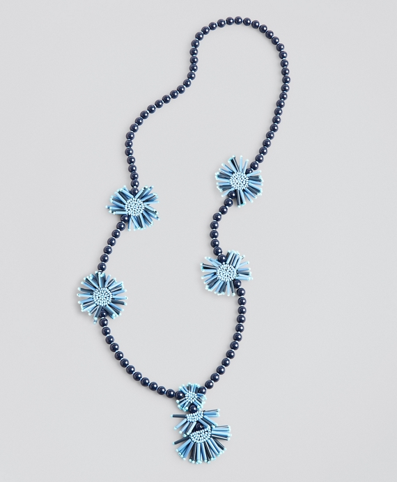 Beaded Tassel Necklace Navy-Blue