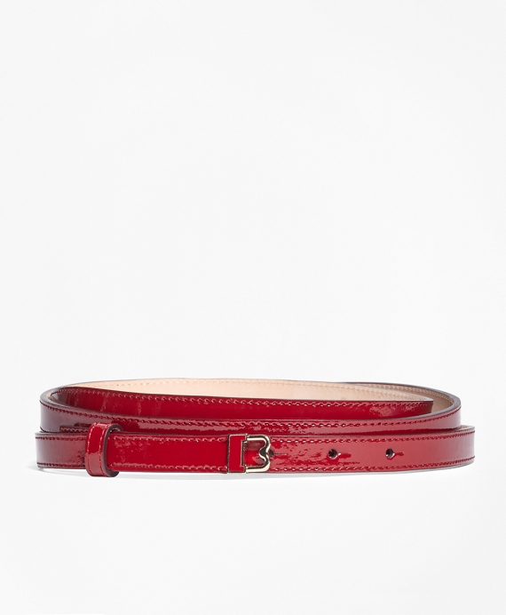 """Skinny Patent Leather """"B"""" Buckle Belt Red"""