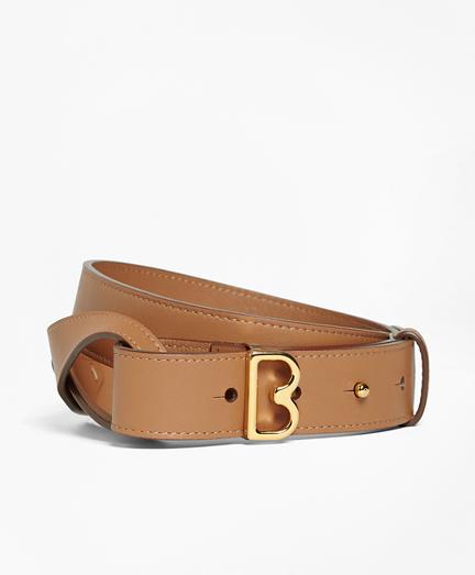 "Samantha Leather Twist ""B"" Buckle Belt"