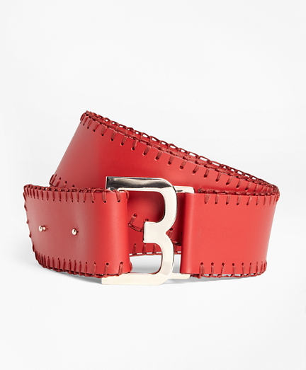 Whipstitched Leather Belt