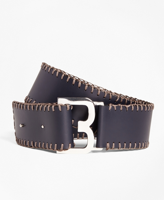 Whipstitched Leather Belt Navy
