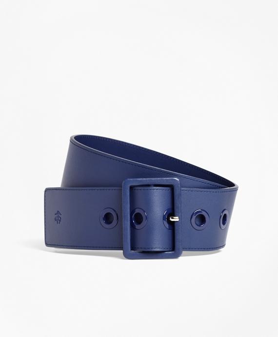 Wide Leather Waist Belt Navy
