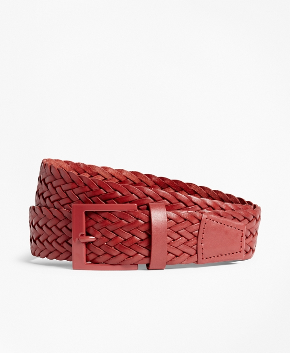 Woven Leather Belt Red