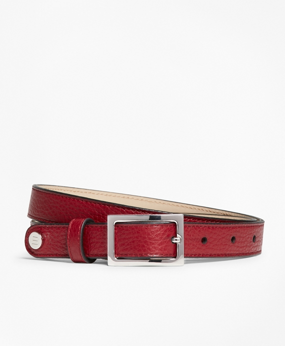 Pebbled Leather Belt Red