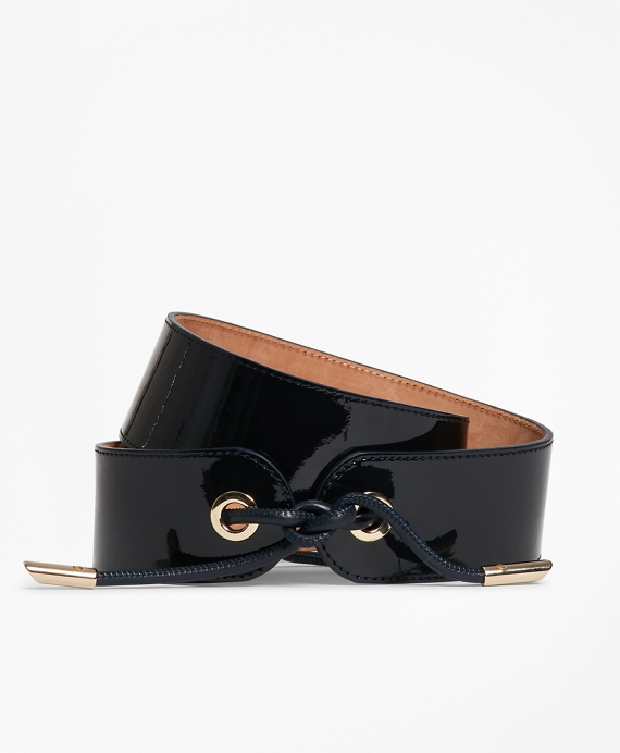 Patent Leather Tied-Waist Belt Navy