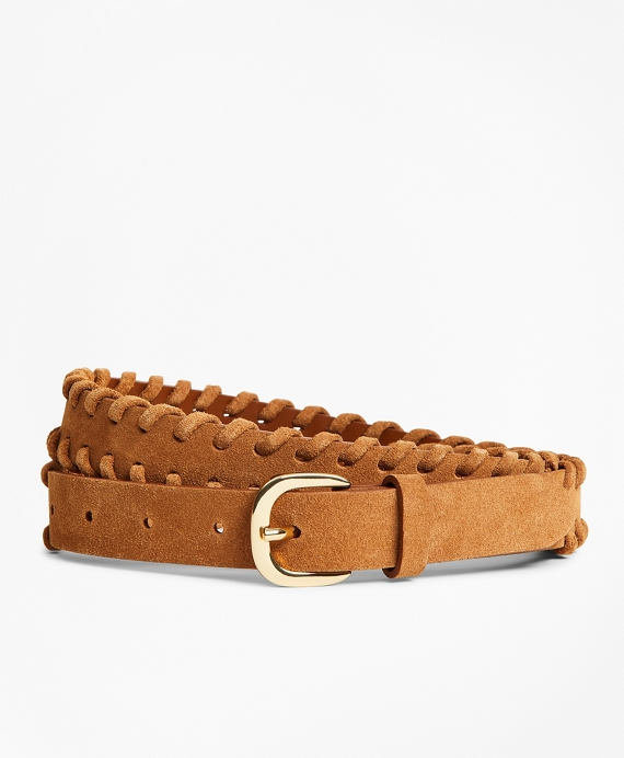 Suede Whip-Stitched Waist Belt Copper