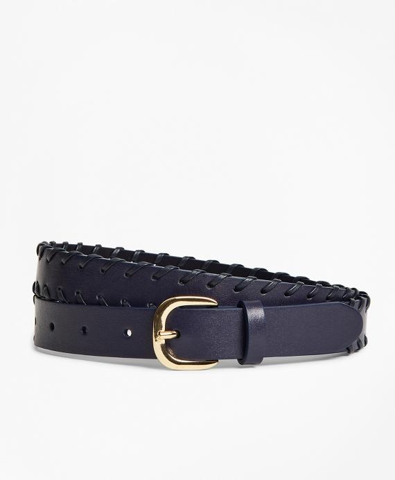 Leather Whip-Stitched Waist Belt Navy